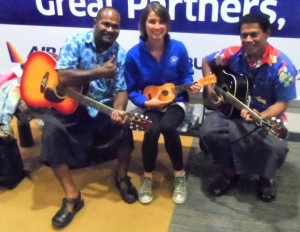 Stop over in Fiji being welcomed with great music and smiley faces.