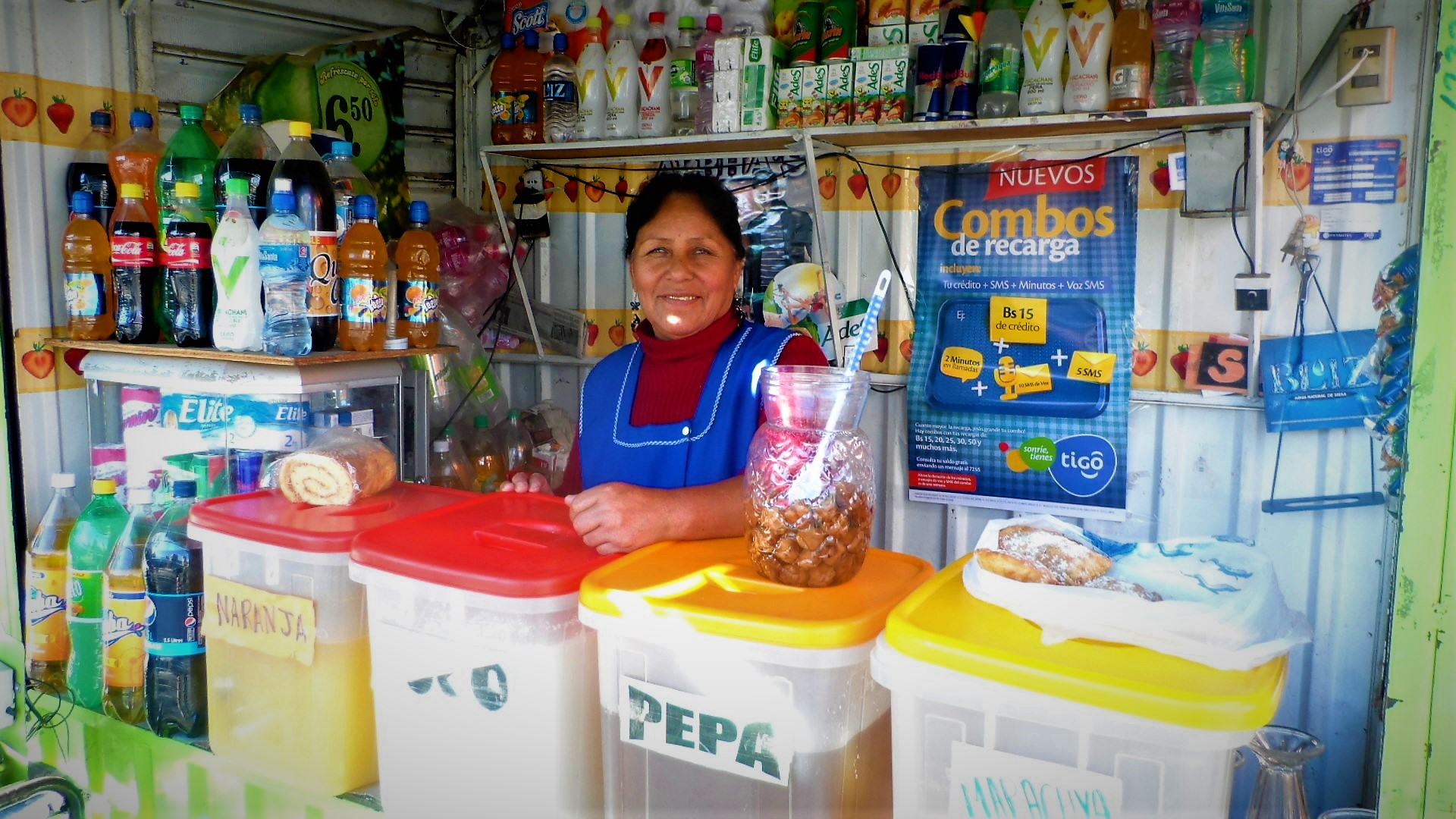 My dear friend Señora Benita greeting me from her little store each morning