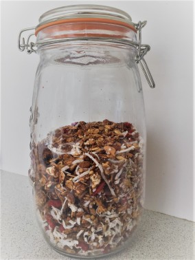 Xmas crunch granola stored in an airtight container